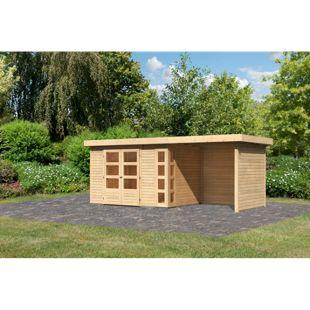 Woodfeeling Gartenhaus Kerko 4 mit Anbaudach ca. 2,40 m breit und 19 mm Seiten-/ Rückwand, naturbelassen