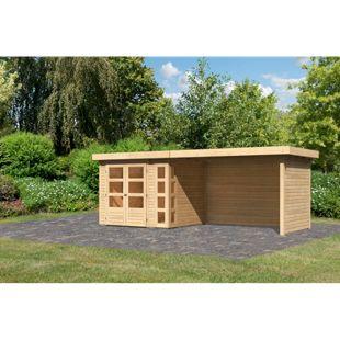 Woodfeeling Gartenhaus Kerko 3 mit Anbaudach ca. 2,80 m breit und 19 mm Seiten-/ Rückwand, naturbelassen