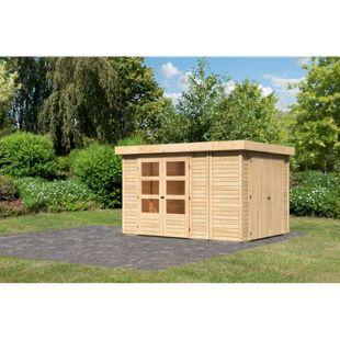 Woodfeeling Gartenhaus Retola 4,  inkl. Anbauschrank naturbelassen