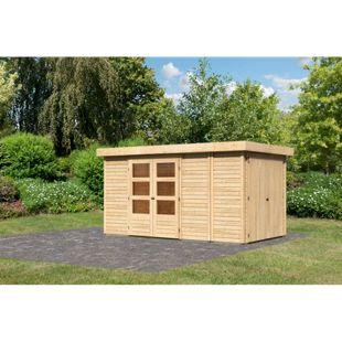 Woodfeeling Gartenhaus Retola 5,  inkl. Anbauschrank naturbelassen