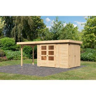 Woodfeeling Gartenhaus Retola 2 mit Anbaudach 2,40 m breit,  inkl. Anbauschrank naturbelassen