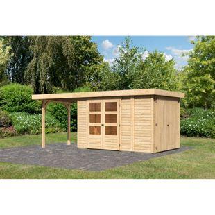 Woodfeeling Gartenhaus Retola 3 mit Anbaudach 2,40 m breit,  inkl. Anbauschrank naturbelassen