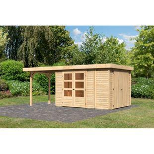 Woodfeeling Gartenhaus Retola 4 mit Anbaudach 2,40 m breit,  inkl. Anbauschrank naturbelassen