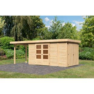 Woodfeeling Gartenhaus Retola 5 mit Anbaudach 2,40 m breit,  inkl. Anbauschrank naturbelassen