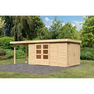 Woodfeeling Gartenhaus Retola 6 mit Anbaudach 2,40 m breit,  inkl. Anbauschrank naturbelassen