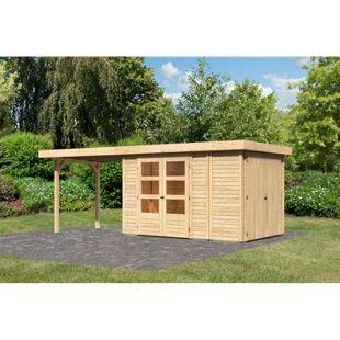Woodfeeling Gartenhaus Retola 3 mit Anbaudach 2,80 m breit,  inkl. Anbauschrank naturbelassen
