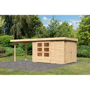 Woodfeeling Gartenhaus Retola 4 mit Anbaudach 2,80 m breit,  inkl. Anbauschrank naturbelassen