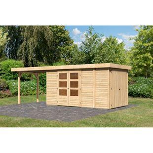 Woodfeeling Gartenhaus Retola 5 mit Anbaudach 2,80 m breit,  inkl. Anbauschrank naturbelassen