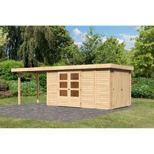 Woodfeeling Gartenhaus Retola 6 mit Anbaudach 2,80 m breit,  inkl. Anbauschrank naturbelassen