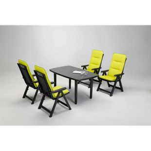 Best Freizeitmöbel Kunststoff Gartenmöbel-Set Santiago 9-teilig, anthrazit/grün