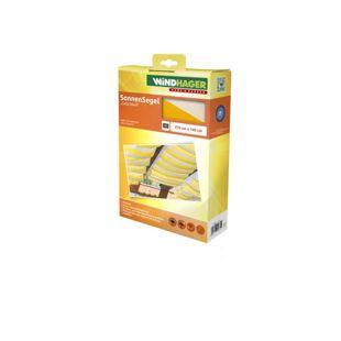 Windhager Seilspann-Sonnensegel 270 x 140 cm, gelb/weiß