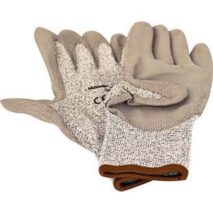 """MAUK (12 Paar) Schnittschutz Handschuhe Grau """"Cut Resistant Glove"""" EN388 Schnittstufe 5 Größe 10"""" HPPE PU beschichtet"""