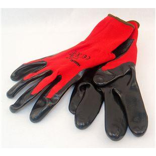"""MAUK (12 Paar) Handschuhe Polyester Rot 13g, schwarz Nitril beschichtet 45g Größe 9"""""""
