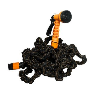 EASYmaxx Gartenschlauch flexibel 15m schwarz/orange mit Multi-Gartenbrause