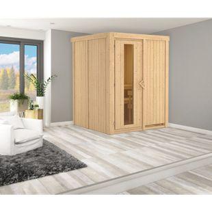 Karibu Systemsauna Valida 1 mit Energiespartür, inkl. Sauna-Zubehör-Set PLUS