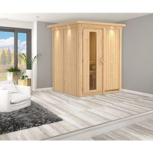 Karibu Systemsauna Valida 1 mit Kranz & Energiespartür, inkl. Sauna-Zubehör-Set PLUS