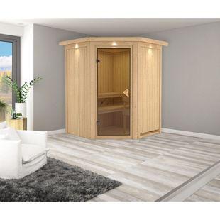 Karibu Eck-Systemsauna Valida 1 mit Kranz & bronzierter Ganzglastür, inkl. Sauna-Zubehör-Set PLUS