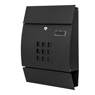Briefkasten MCW-B32, Wandbriefkasten Postkasten Zeitungsfach pulverbeschichtet ~ schwarz