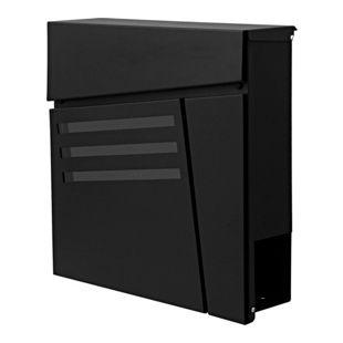 Briefkasten MCW-B28, Wandbriefkasten Postkasten Zeitungsfach, pulverbeschichtet ~ schwarz