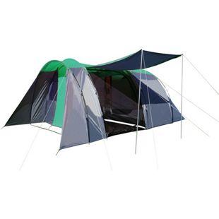 Campingzelt MCW-A99, 6-Mann Zelt Kuppelzelt Festival-Zelt, 6 Personen ~ grün/grau