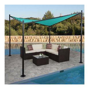 Pergola MCW-A41, Garten Pavillon Sonnensegel, stabiles Stahl-Gestell 3x3m ~ türkis