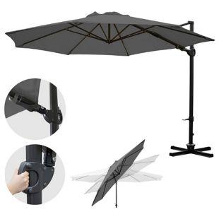 Gastronomie-Ampelschirm MCW-A39, Sonnenschirm, schwenkbar drehbar Ø 3,5m Polyester/Alu 34kg ~ anthrazit ohne Ständer