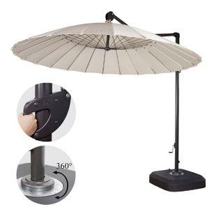 Ampelschirm MCW-A34, Sonnenschirm mit Ständer/Schutzhülle, drehbar rollbar Ø 2,8m Polyester Alu/Stahl 25kg ~ creme
