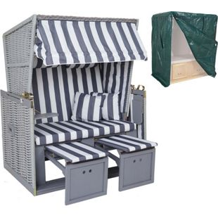 Poly-Rattan-Strandkorb MCW-A11, Volllieger Ostsee Nordsee inkl. Abdeckung ~ grau