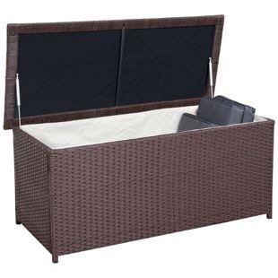 Poly-Rattan Kissenbox MCW-D43, Truhe Auflagenbox Gartentruhe, 63x135x52cm 290l ~ braun