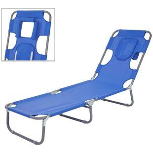 Sonnenliege MCW-B11, Relaxliege Gartenliege, Bauchliegefunktion Stoff/Textil klappbar ~ blau