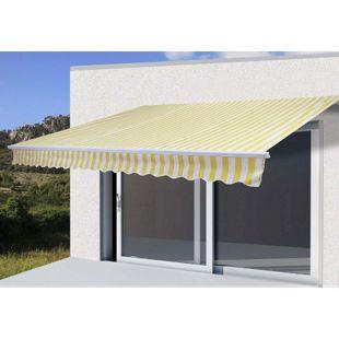 Alu-Markise H791, Gelenkarmmarkise Sonnenschutz 4,5x3m ~ Polyester Gelb/Weiß