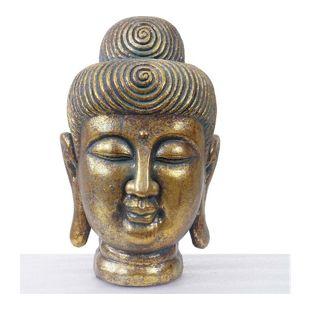XL Deko Buddha 38cm, Figur Polyresin Skulptur Kopf, In-/Outdoor gold