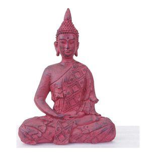 XL Deko Buddha 39cm, Figur Polyresin Skulptur, In-/Outdoor sitzend rot