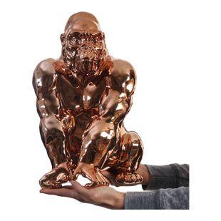 Skulptur Affe, Deko Figur Gorilla 40cm, In-/Outdoor Polyresin ~ kupfer