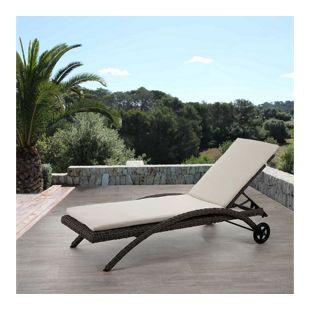Luxus Sonnenliege Florina, Relaxliege Gartenliege, rundes Rattan naturgrau, Auflage creme