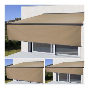 Elektrische Vollkassetten-Markise H124, 5x3m ausfahrbarer Volant ~ Polyester Creme, anthrazit