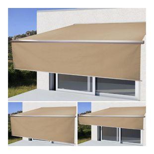 Elektrische Kassetten-Markise H124, Vollkassette, 4,5x3m ausfahrbarer Volant ~ Polyester Creme