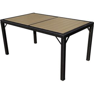 Poly-Rattan Gartentisch Damiette, Tisch Esszimmertisch, 150x90cm WPC ~ anthrazit