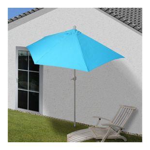 Sonnenschirm halbrund Lorca, Halbschirm Balkonschirm, UV 50+ Polyester/Alu 3kg ~ 270cm türkis ohne Ständer