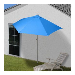 Sonnenschirm halbrund Lorca, Halbschirm Balkonschirm, UV 50+ Polyester/Alu 3kg ~ 270cm blau ohne Ständer
