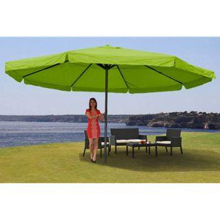 Sonnenschirm Carpi Pro, Gastronomie Marktschirm mit Volant Ø 5m Polyester/Alu 28kg ~ grün ohne Ständer