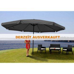 Sonnenschirm Carpi Pro, Gastronomie Marktschirm mit Volant Ø 5m Polyester/Alu 28kg ~ anthrazit ohne Ständer