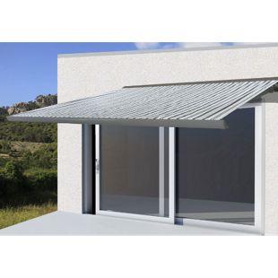 Elektrische Kassettenmarkise H122, Markise Vollkassette 4x3m ~ Polyester Grau/Weiß, Rahmen grau