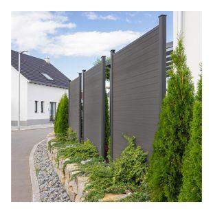 Home Deluxe WPC-Sichtschutzzaun V2 - Element + 2 x Pfosten + Schrägelement