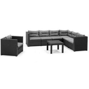 Allibert Loungegruppe Provence mit Tisch, 1 x Verlängerung und Sessel, anthrazit