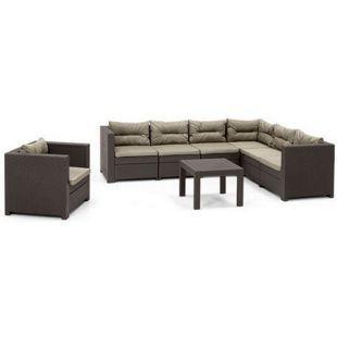 Allibert Lounge Ecke Provence mit Tisch, 1 x Verlängerung und 1 x Sessel, braun