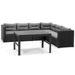 Allibert Lounge Ecke Provence mit höhenverstellbarem Lyon Tisch + 1 x Verlängerung, anthrazit