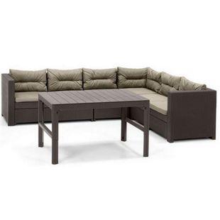 Allibert Lounge Ecke Provence mit höhenverstellbarem Lyon Tisch + 1 x Verlängerung, braun