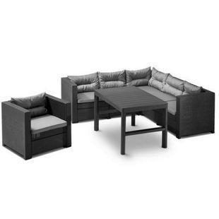 Allibert Lounge Set Provence 3-teilig, mit höhenverstellbarem Tisch, Sessel, anthrazit