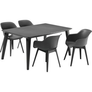 Allibert Lounge Stuhl-Set 5-teilig mit Tisch anthrazit, anthrazit